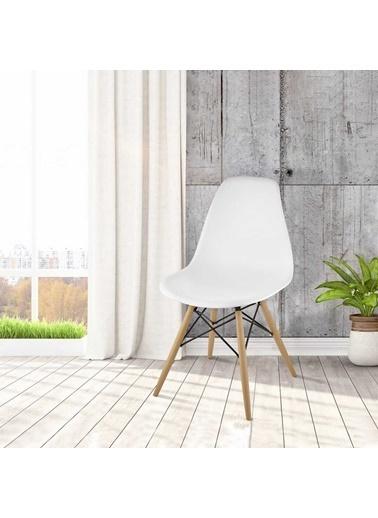 Dorcia Home Home Mona Kolçaksız Ahşap Ayaklı Metal Destekli Plastik Sandalye Beyaz